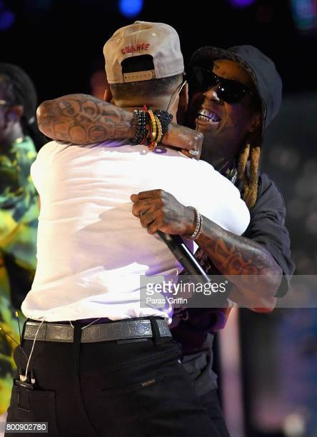 Chance The Rapper and Lil Wayne perform onstage at 2017 BET Awards at Microsoft Theater on June 25 2017 in Los Angeles California