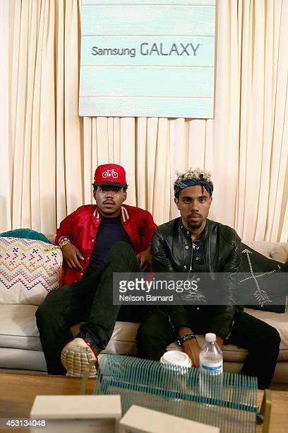 Chance The Rapper and Vic Mensa at the Samsung Galaxy Artist Lounge at Lollapalooza at Grant Park on August 3 2014 in Chicago Illinois