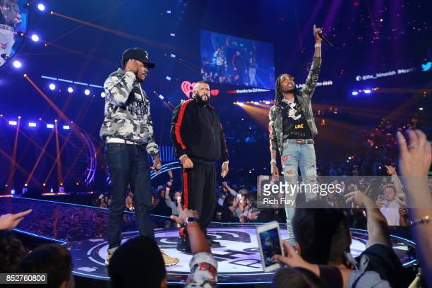 Chance the Rapper DJ Khaled and Quavo perform onstage during the 2017 iHeartRadio Music Festival at TMobile Arena on September 23 2017 in Las Vegas...