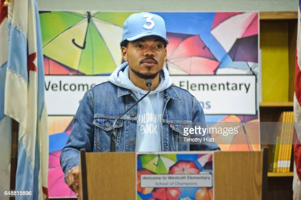 Chance The Rapper holds a press conference and donates $1 Million Dollars to the Chicago Public School Foundation at Westcott Elementary School on...