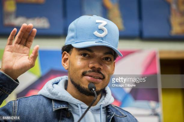 Chance the Rapper holds a press conference at Westcott Elementary School in Chicago's Chatham neighborhood on March 6 2017