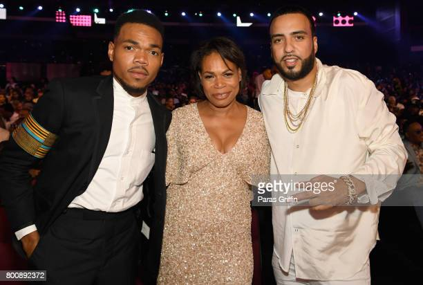 Chance The Rapper Lisa Bennett and French Montana attend 2017 BET Awards at Microsoft Theater on June 25 2017 in Los Angeles California