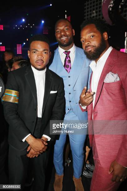Chance the Rapper Martellus Bennett and Michael Bennett at 2017 BET Awards at Microsoft Theater on June 25 2017 in Los Angeles California