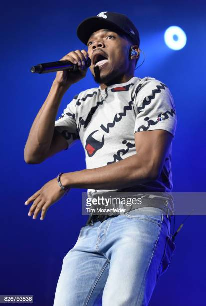 Chance the Rapper performs during Lollapalooza 2017 at Grant Park on August 5 2017 in Chicago Illinois