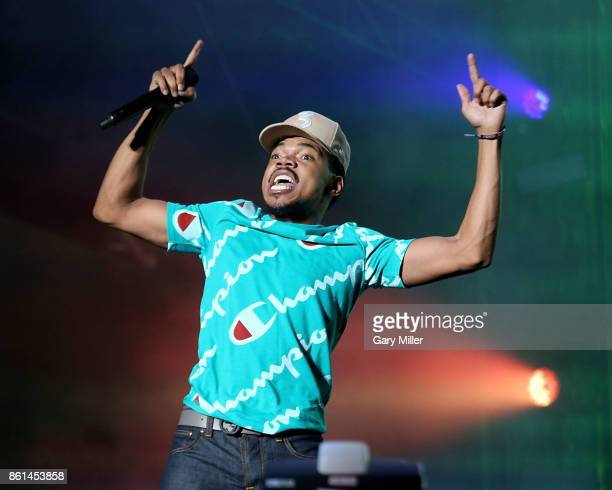 Chance The Rapper performs in concert during day two of the second weekend of Austin City Limits Music Festival at Zilker Park on October 14 2017 in...