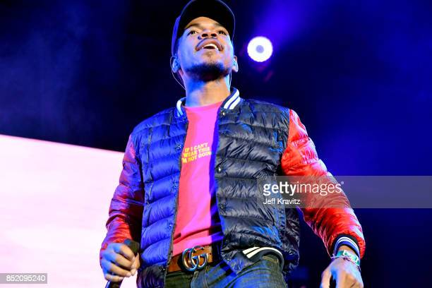 Chance The Rapper performs on Downtown Stage during day 1 of the 2017 Life Is Beautiful Festival on September 22 2017 in Las Vegas Nevada