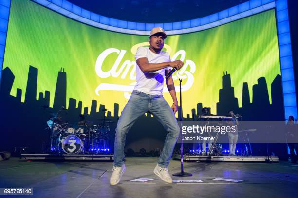 Chance the Rapper performs on stage at American Airlines Arena on June 13 2017 in Miami Florida