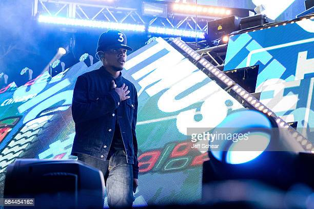 Chance the Rapper performs onstage at the Bud Light Stage Moment at Lollapalooza at Grant Park on July 28 2016 in Chicago Illinois