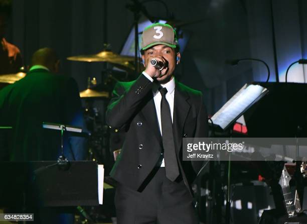 Chance the Rapper performs onstage during the 2017 PreGRAMMY Gala And Salute to Industry Icons Honoring Debra Lee at The Beverly Hilton Hotel on...