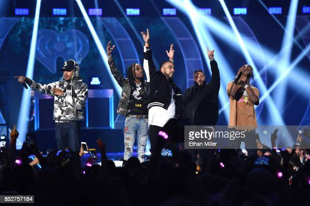 Chance the Rapper Quavo of Migos French Montana DJ Khaled and Travis Scott perform onstage during the 2017 iHeartRadio Music Festival at TMobile...