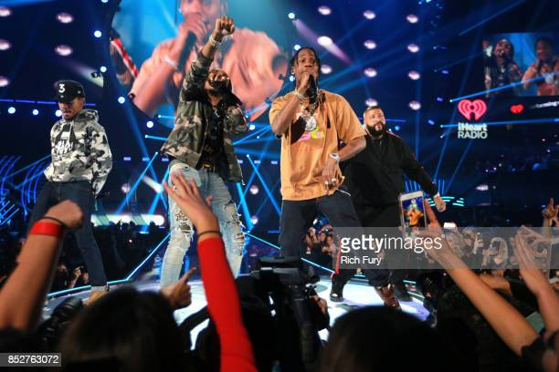 Chance the Rapper Quavo Travis Scott and DJ Khaled perform onstage during the 2017 iHeartRadio Music Festival at TMobile Arena on September 23 2017...