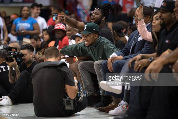 Chance the Rapper reacts during a BIG3 basketball league game on July 23 at the UIC Pavilion in Chicago IL