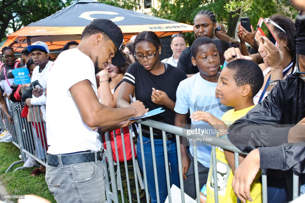 Chance The Rapper serves as Grand Marshal and donates 30,000 gift bags with school supplies at the 2017 Bud Billiken Parade on August 12, 2017 in Chicago, Illinois.