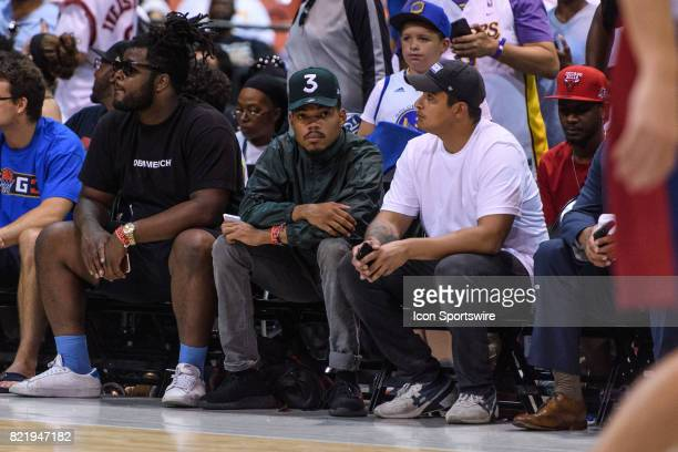 Chance the Rapper sits courtside during a BIG3 Basketball game on July 23 at the UIC Pavilion in Chicago IL