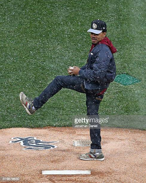 Chance the Rapper throws a ceremonial first pitch before the home opener between the Chicago White Sox and the Cleveland Indians at US Cellular Field...