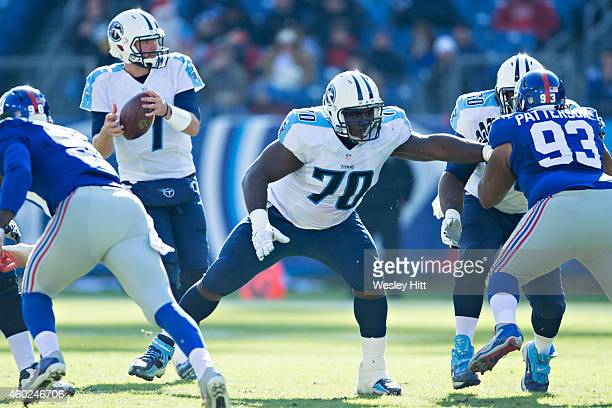 Chance Warmack of the Tennessee Titans blocks during the second quarter of a game against the New York Giants at LP Field on December 7 2014 in...