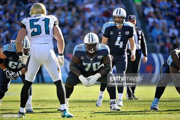 Chance Warmack of the Tennessee Titans plays against the Jacksonville Jaguars at LP Field on November 10 2013 in Nashville Tennessee