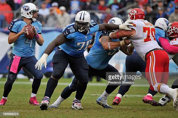 Chance Warmack of the Tennessee Titans plays against the Kansas City Chiefs at LP Field on October 6 2013 in Nashville Tennessee