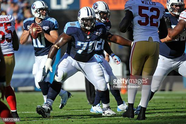 Chance Warmack of the Tennessee Titans plays against the San Francisco 49ers at LP Field on October 20 2013 in Nashville Tennessee
