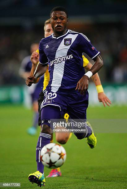Chancel Mbemba of Anderlecht in axction during the UEFA Champions League Group D match between RSC Anderlecht and Borussia Dortmund at Constant...