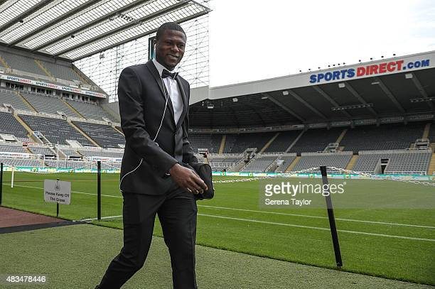 Chancel Mbemba of Newcastle arrives prior to kick off in the Barclays Premier League match between Newcastle United and Southampton at StJames Park...