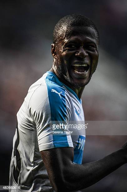Chancel Mbemba of Newcastle laughs on his debut during the Pre Season Friendly between Newcastle United and Borussia Monchengladbach at StJames Park...