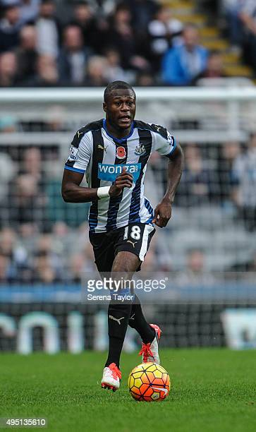 Chancel Mbemba of Newcastle runs with the ball during the Barclays Premier League match between Newcastle United and Stoke City at StJames' Park on...