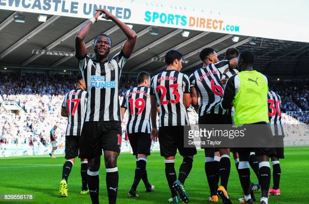 Chancel Mbemba of Newcastle United celebrates after Ciaran Clark of Newcastle United scores Newcastle's second goal during the Premier League Match...