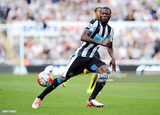 Chancel Mbemba of Newcastle United during the Barclays Premier League match between Newcastle United and Watford on September 19 2015 in Newcastle...