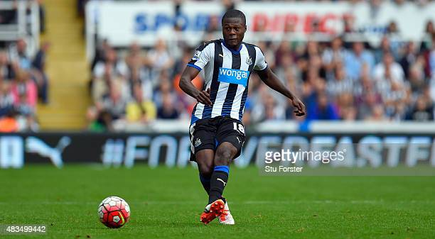 Chancel Mbemba of Newcastle United in action during the Barclays Premier League match between Newcastle United and Southampton at St James Park on...