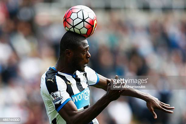 Chancel Mbemba of Newcastle United in action during the Barclays Premier League match between Newcastle United and Arsenal at St James' Park on...