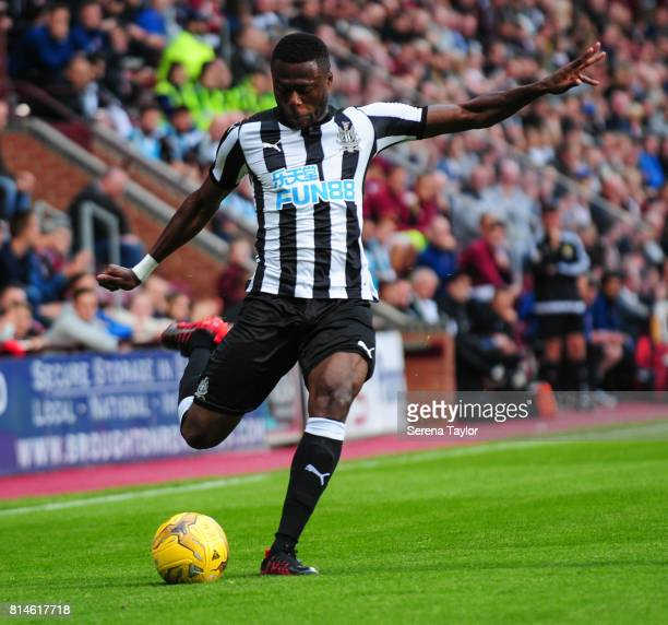 Chancel Mbemba of Newcastle United passes the ball during the PreSeason Friendly between Heart of Midlothian and Newcastle United at the Tynecastle...
