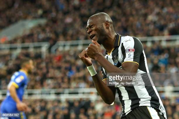 Chancel Mbemba of Newcastle United reacts during the Sky Bet Championship match between Newcastle United and Leeds United at St James' Park on April...