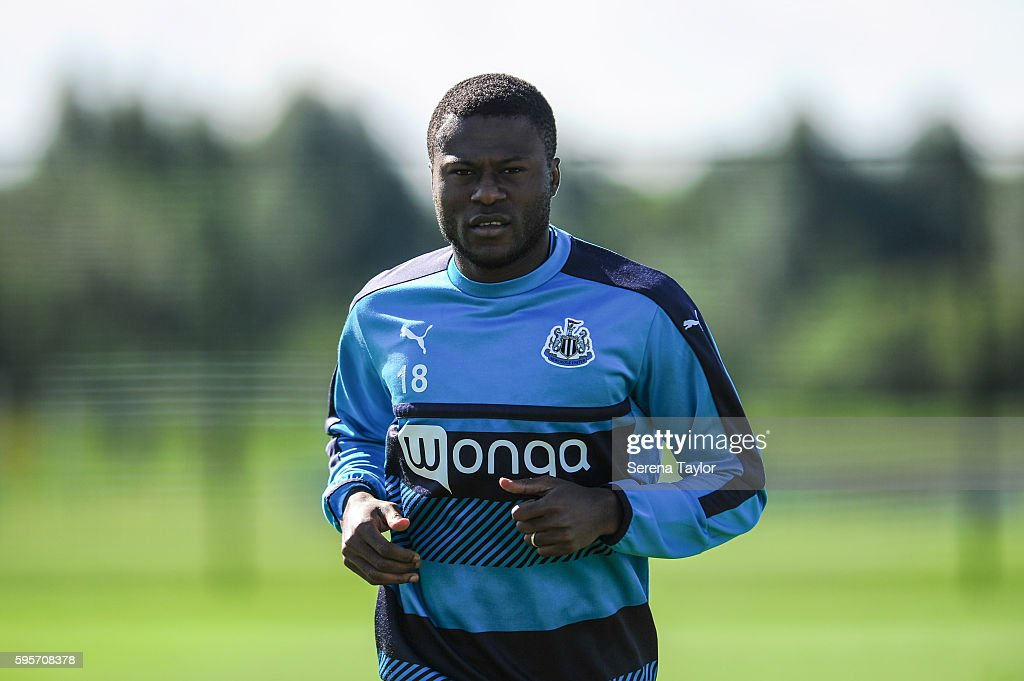 Chancel Mbemba runs during the Newcastle United Training Session at The Newcastle United Training Centre on August 26 in Bristol England