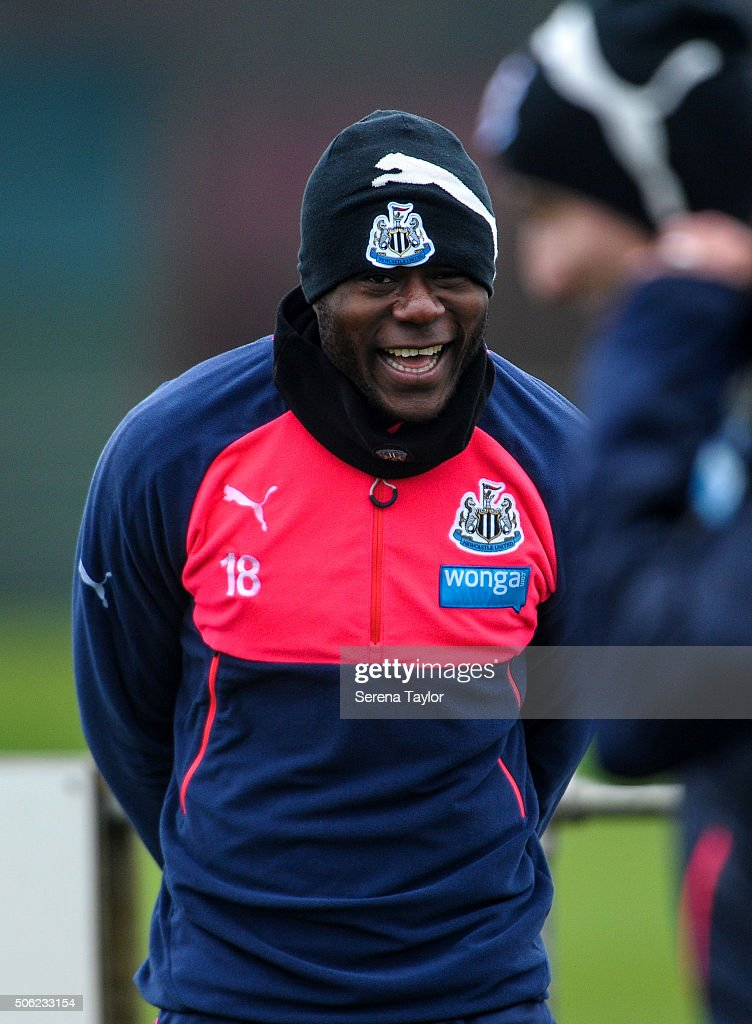 <a gi-track='captionPersonalityLinkClicked' href=/galleries/search?phrase=Chancel+Mbemba&family=editorial&specificpeople=11098951 ng-click='$event.stopPropagation()'>Chancel Mbemba</a> smiles during the Newcastle United Training session at The Newcastle United Training Centre on January 22, 2016, in Newcastle upon Tyne, England.