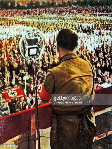 Chancellor adolf hitler addresses a Nazi Rally in Bochum 1933/34