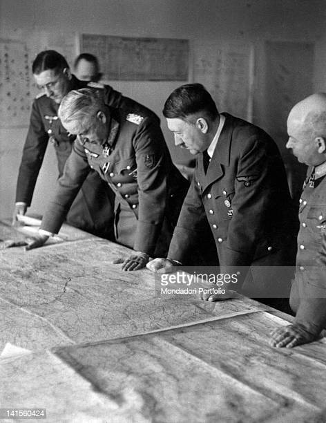 Chancellor Adolf Hitler and officers of the General Staff working out the offensive against Stalingrad Poltava 9th May 1942