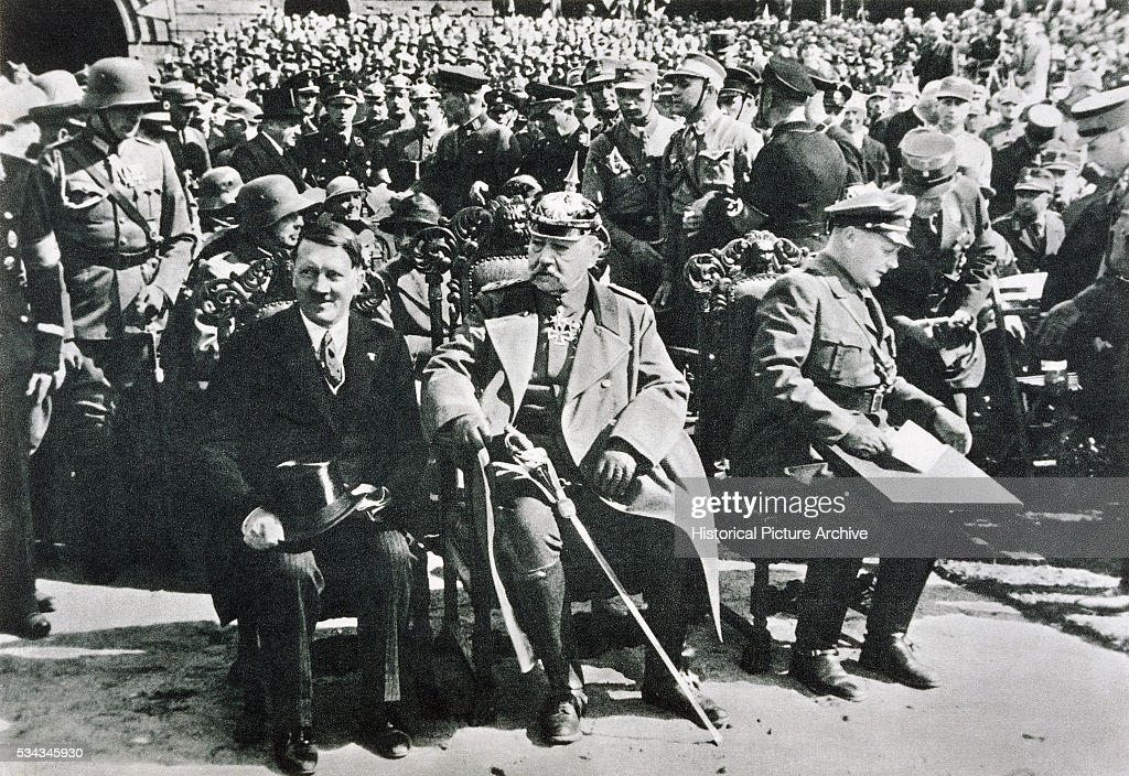 'Chancellor Adolf Hitler, President and Field Marshall Paul von Hindenburg, and Minister Hermann Goering at the Tannenberg Memorial. A year later Hindenberg would be dead, and Hitler sole leader of Germany. | Location: Near Hohenstein, Germany. (Photo by © Historical Picture Archive/CORBIS/Corbis via Getty Images)'
