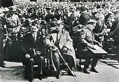 Chancellor Adolf Hitler President and Field Marshall Paul von Hindenburg and Minister Hermann Goering at the Tannenberg Memorial A year later...