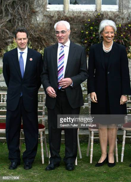 Chancellor Alistair Darling US Treasury Secretary Timothy Geithner and French Finance Minister Christine Lagarde at a meeting for G20 finance...