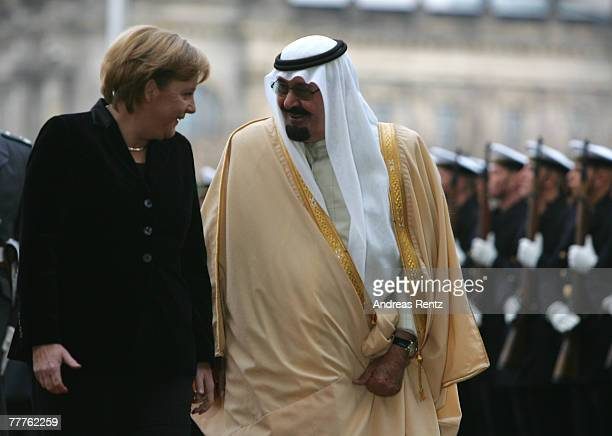 Chancellor Angela Merkel and King Abdullah of Saudi Arabia review a guard of honour upon King's arrival at the Chancellery on November 7 2007 in...