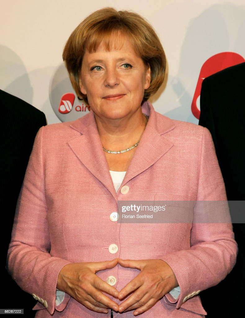 Chancellor Angela Merkel attends the Air Berlin 30th Birthday Party at Estrel Hotel on April 28 2009 in Berlin Germany