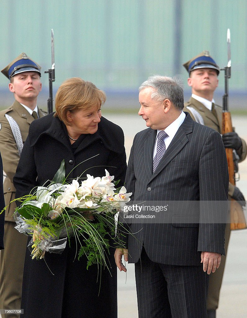 Angela Merkel visit Chancellor Angela Merkel is greeted at the Warsaw Airport by Polish Prime Minister Jaroslaw Kaczynski on