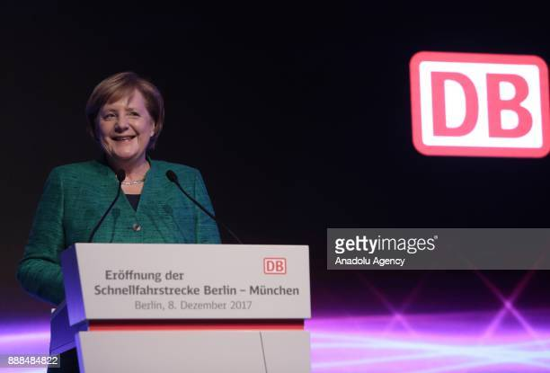 Chancellor Angela Merkel speaks at the Berlin central train station or Hauptbahnhof during the first journey of the high speed track that connect the...