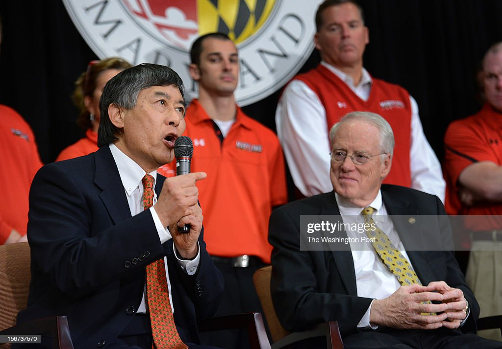 Chancellor Brit Kerwin, right, listens as President Wallace Loh answers questions during a press conference to address the news that the University of Maryland will join the Big 10 college sports division on November, 19, 2012 in College Park, MD.