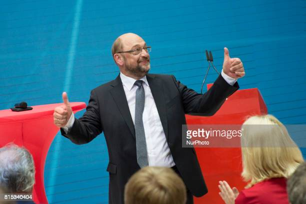 Chancellor Candidate and Chairman of the Social Democratic Party Martin Schulz is pictured after speaking at the event 'Zukunft Gerechtigkeit Europa'...
