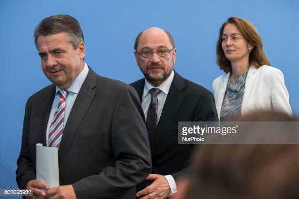 Chancellor Candidate and chairman of the Social Democratic Party Martin Schulz Foreign Minister SIgmar Gabriel and Family Minister Katarina Barley...