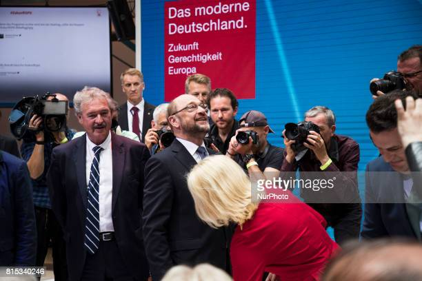 Chancellor Candidate and Chairman of the Social Democratic Party Martin Schulz arrives at the event 'Zukunft Gerechtigkeit Europa' at the SPD...