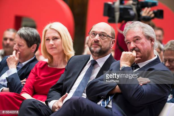 Chancellor Candidate and Chairman of the Social Democratic Party Martin Schulz President of MeklenburgVorpommern Manuela Schweisg and Foreign...