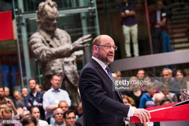 Chancellor Candidate and Chairman of the Social Democratic Party Martin Schulz speaks during the event 'Zukunft Gerechtigkeit Europa' at the SPD...